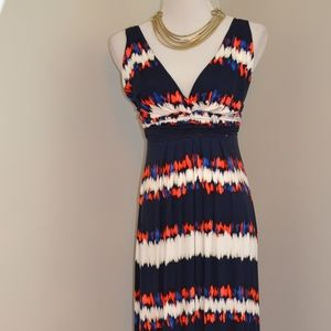 Tart Maxi Dress Blue White Orange V-Neck Small